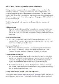 Resume Without Objectives How Write Effective Objective Statement