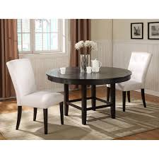 3 pieces dining sets in traditional theme with white parsons chair in white and rounded wooden table