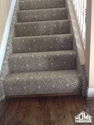 carpet on stairs. pattern carpet wrapped stairs with a sanding \u0026 refinish on existing hardwood. #homefurniturein