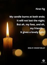 Light A Candle In Memory Poem Aftering Com First Fig Edna St Vincent Millay Poem
