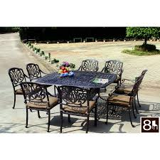 darlee elisabeth 9 piece antique bronze aluminum patio dining set with sesame cushions
