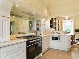 Unique Kitchen Flooring L Shaped Modern Home White Cabinetry With White Granite Countertop