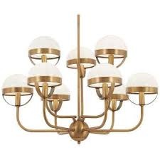 tannehill 9 light aged brass chandelier with opal glass shade