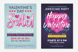 Valentines Flyers 2 Valentines Day Flyer Design Layout Template With Cute Pink Baloon Color