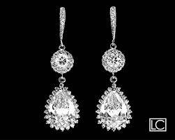 cubic zirconia bridal earrings crystal chandelier wedding earrings cz dangle earrings bridal jewelry vintage style earrings prom cz earrings 42 50 usd