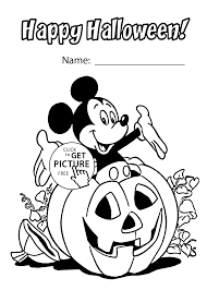 Small Picture Halloween and Mickey Mouse coloring page for kids printable free