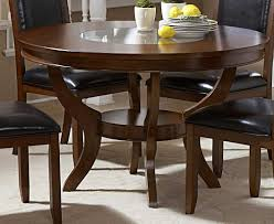 42 inch round espresso dining table with extension seats how many