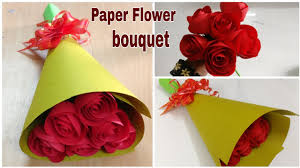 How To Make A Simple Paper Flower Bouquet How To Make Paper Rose Flower Bouquet Diy Paper Craft