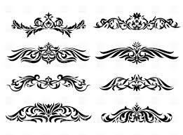 Vignette Design Curly Floral Vignettes Stock Vector Image