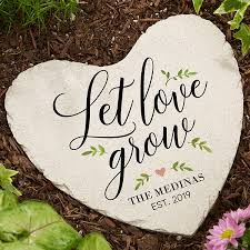 let love grow personalized heart garden stones