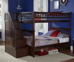 Kids Bedroom Furniture Bunk Beds Columbia Full Over Full Staircase Bunk Bed Antique Walnut