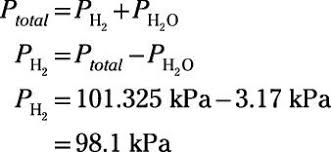 total pressure equation. so, the partial pressure of hydrogen gas trapped in tube is 98.1 kpa. total equation