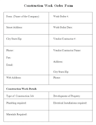 Extra Work Order Template Internal Purchase Order Template Internal Work Order