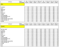 vibram size chart size chart