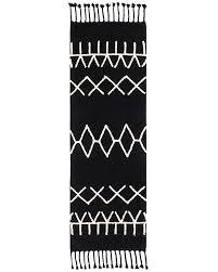 lorena cs machine washable runner rug black and white bereber black 100 cotton