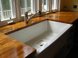 wood kitchen counter innovative decor with solid wooden countertop and white sink also modern faucet