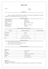 New Resume Format For Freshers Resume Format For Job In Word With