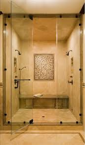 Small bathroom decoration using single clear glass shower door along with master  bathroom shower