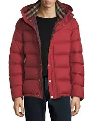 Burberry Men's Jackets & Trench Coats at Neiman Marcus & Hartley Hooded Quilted Jacket, Red Adamdwight.com