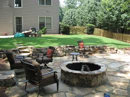 flagstone patio with fire pit. Tennessee Stack Fieldstone Retaining Wall And Flagstone Patio With Fire Pit By Edge Landscapes.