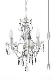breathtaking 3 light mini chandelier 14 the original gypsy color plug in crystal with white metal frame clear acrylic crystals