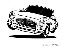 レトロなオープンカー モノクロのイラスト素材 27745218 Pixta