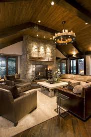 rectangular wood chandelier family room rustic with sloped ceiling stone fireplace surround stone fireplace surround