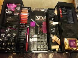 got my younique makeup trunk for hitting blue status in march all filled up organized