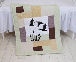 duck baby quilt hunting theme crib bedding hunter nursery woodland crib bedding for baby boy forest blanket gray green beige brown