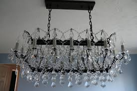 remarkable restoration hardware c rococo iron clear crystal rectangular chandelier by 19th c rococo iron crystal
