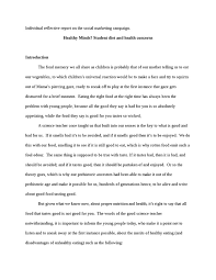 individual reflective report on the social marketing campaign    individual reflective report on the social marketing campaign  healthy minds  student diet and health  masters  essay