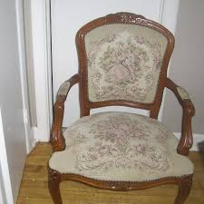 Antique QUEEN ANNE Armchair Limoges Lovers Tapestry Carved Wood Queen Anne7