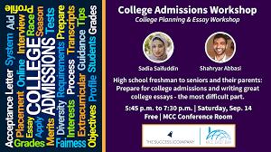 College Essay Writing Workshop College Admissions Workshop College Planning Essay