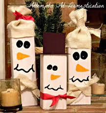 4x4 Wood Crafts Wooden Snowmen Made From 4x4s