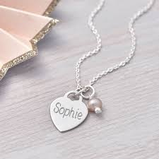 personalised tiny sterling silver heart charm necklace