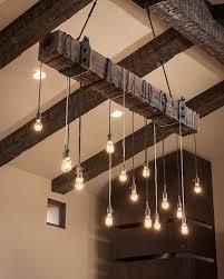 rustic wooden beam industrial chandelier