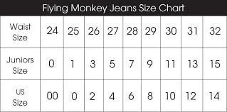 short size flying monkey jeans size conversion chart