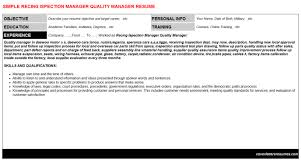 Recing Ispection Manager Quality Manager Resume Cover Letter Cv