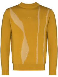 Shop yellow A-COLD-WALL* <b>knitted pattern</b> detail jumper with ...