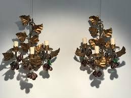 pair of italian crystal pendants wall lights circa 1950