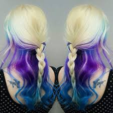 Blonde Purple Blue Dyed Hair