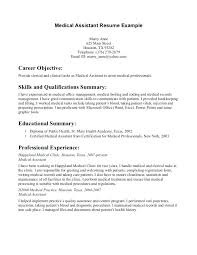 Example Of Resumes For Medical Assistants Objectives For A Medical Assistant Resume Medical Assistant Resume