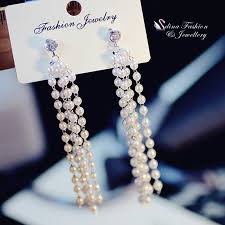 18k white gold gf simulated pearl diamond wedding party chandelier earrings