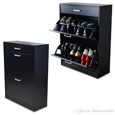 black wood shoe cabinet shoe closet rack organizer with storage drawers and 2 rotary doors from usa stock shoe cabinet mirror shoe organizer wooden shoe