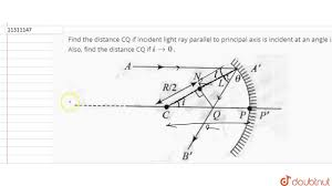 Principal Of Light Find The Distance Cq If Incident Light Ray Parallel To Principal Axis Is Incident At An Angle I