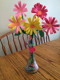 Flower Vase With Paper Construction Paper Flowers Vase Filled With Gift Wrap Ribbon Kid