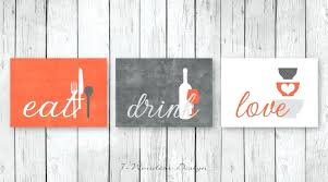 coral colored wall art wall art print set eat drink love grey coral color decor coral  on eat drink love canvas wall art with coral colored wall art turquoise and black wall art wall art canvas