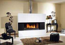 Decorations:Exciting Black Modern Fireplace Idea On White Wall Also Black  Living Room Furniture Set