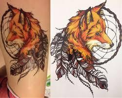 2016 21x15 см желтый лисы и перо прохладный красота татуировки водонепроницаемый