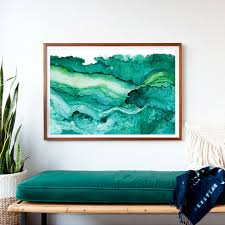 dramatic oversized print framed and ready to hang a print of teal and emerald greens show the layered depths of the ocean and its activity from the on oversized print wall art with undercurrent emerald ink framed art print ocean art surf